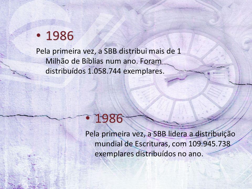 1986 Pela primeira vez, a SBB distribui mais de 1 Milhão de Bíblias num ano. Foram distribuídos 1.058.744 exemplares.
