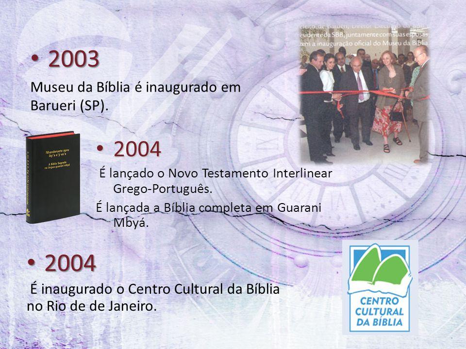 2003 2004 2004 Museu da Bíblia é inaugurado em Barueri (SP).