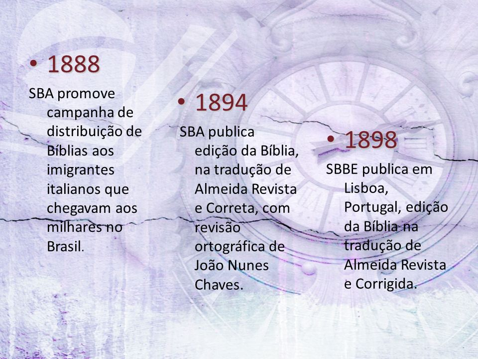 1888 SBA promove campanha de distribuição de Bíblias aos imigrantes italianos que chegavam aos milhares no Brasil.