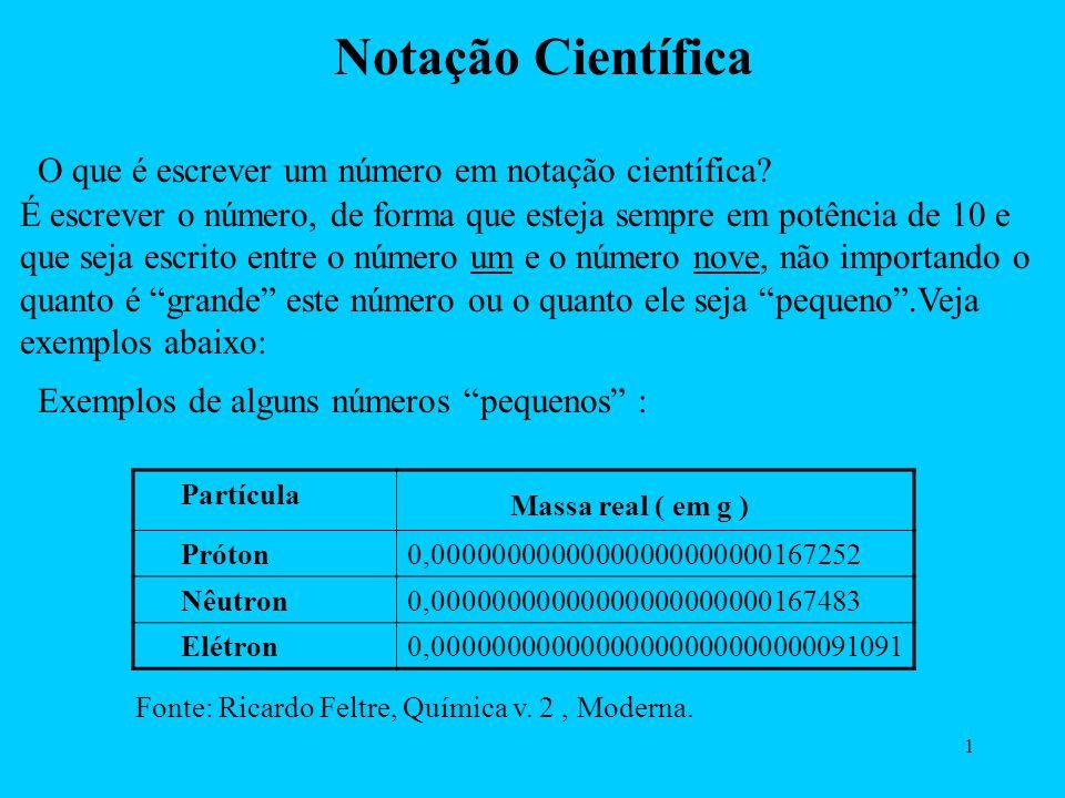 Notação Científica Massa real ( em g )
