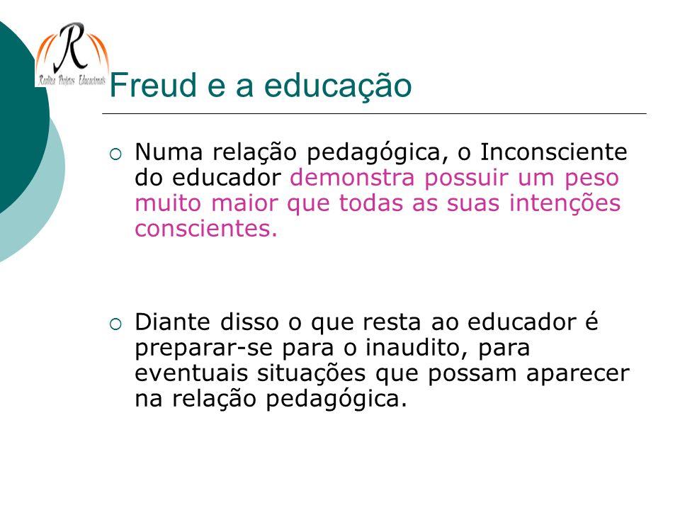 Freud e a educação Numa relação pedagógica, o Inconsciente do educador demonstra possuir um peso muito maior que todas as suas intenções conscientes.