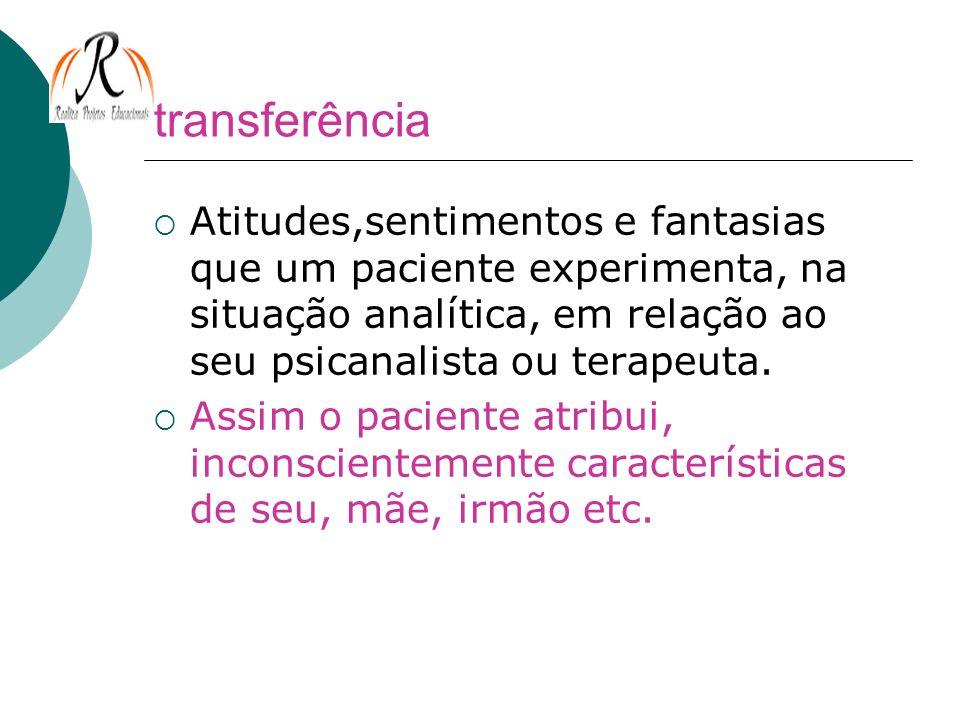 transferênciaAtitudes,sentimentos e fantasias que um paciente experimenta, na situação analítica, em relação ao seu psicanalista ou terapeuta.