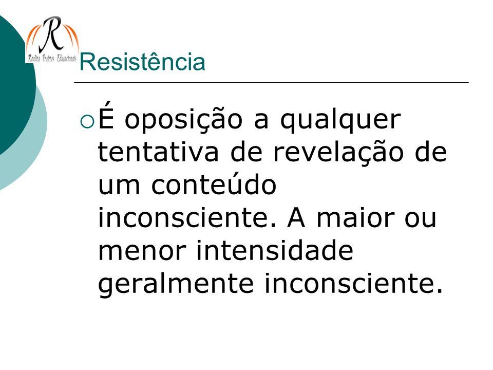 Resistência É oposição a qualquer tentativa de revelação de um conteúdo inconsciente.