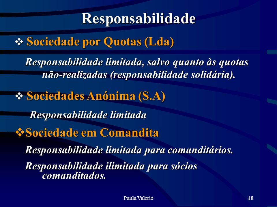 Responsabilidade Responsabilidade limitada Sociedade em Comandita