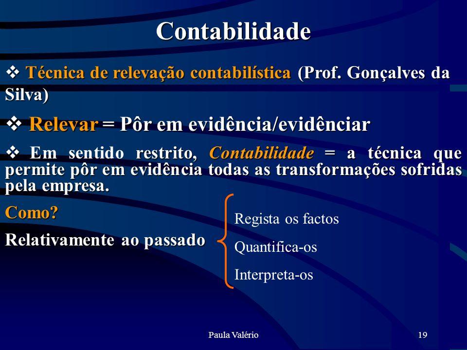 Contabilidade Relevar = Pôr em evidência/evidênciar