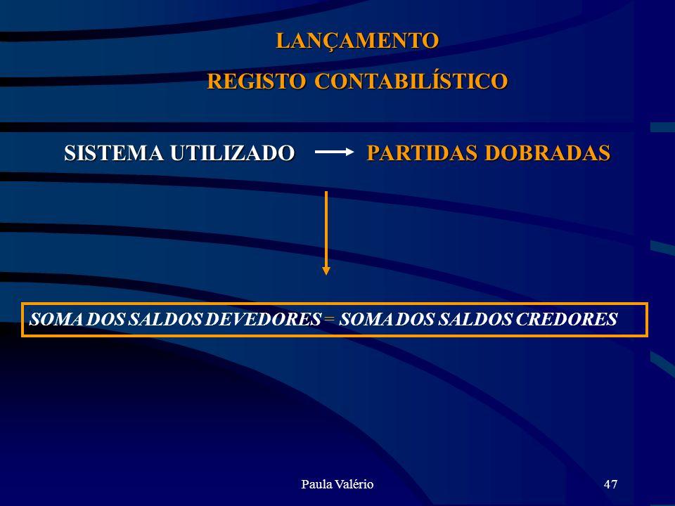 REGISTO CONTABILÍSTICO SISTEMA UTILIZADO PARTIDAS DOBRADAS