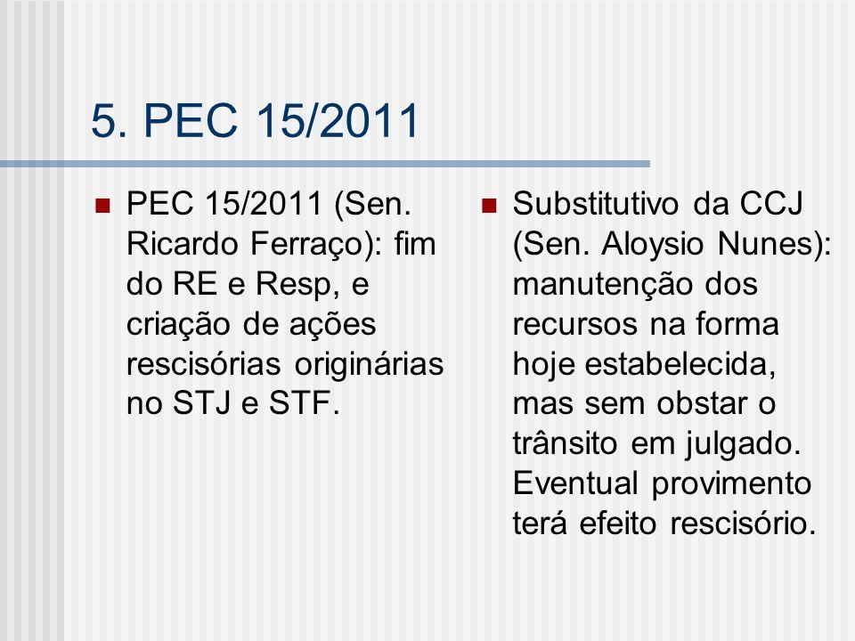 5. PEC 15/2011PEC 15/2011 (Sen. Ricardo Ferraço): fim do RE e Resp, e criação de ações rescisórias originárias no STJ e STF.