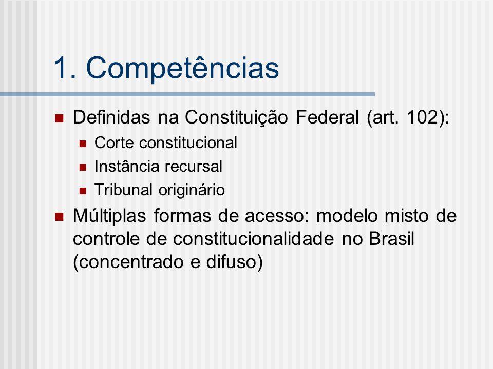 1. Competências Definidas na Constituição Federal (art. 102):