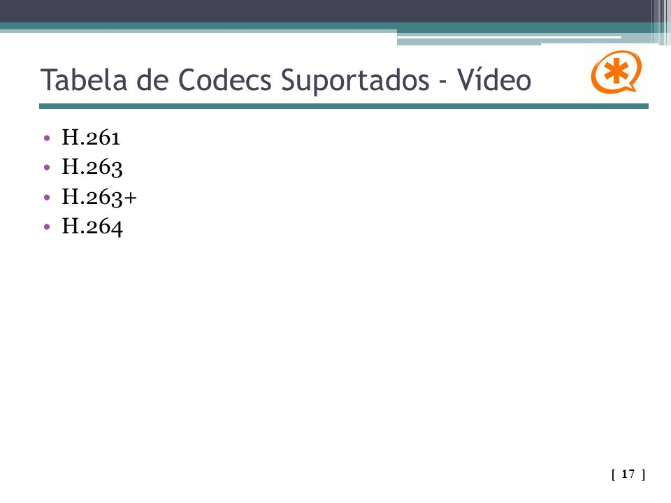 Tabela de Codecs Suportados - Vídeo