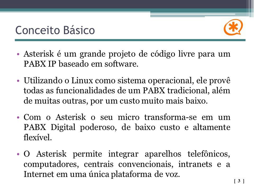 Conceito Básico Asterisk é um grande projeto de código livre para um PABX IP baseado em software.