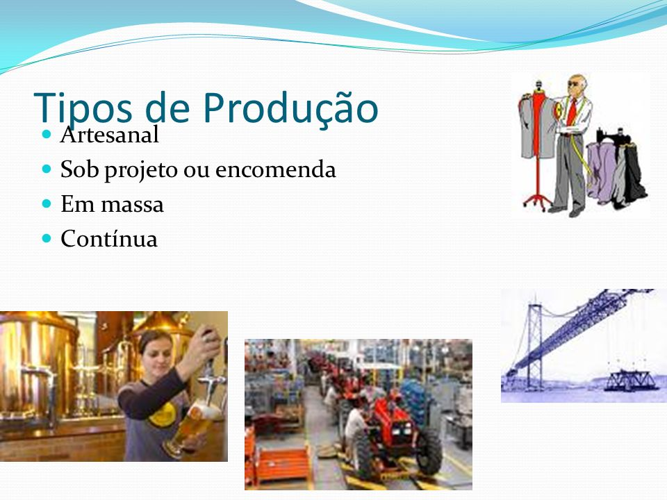 Tipos de Produção Artesanal Sob projeto ou encomenda Em massa Contínua