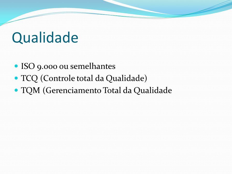Qualidade ISO 9.000 ou semelhantes TCQ (Controle total da Qualidade)