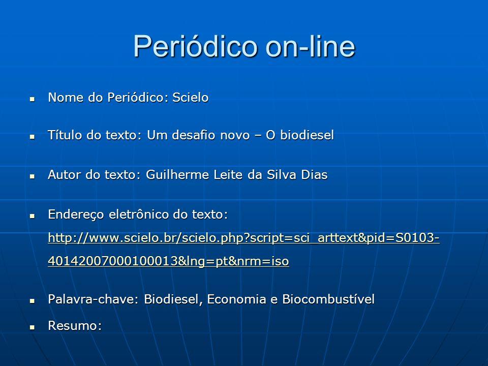 Periódico on-line Nome do Periódico: Scielo