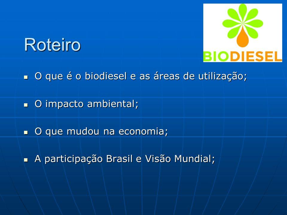 Roteiro O que é o biodiesel e as áreas de utilização;