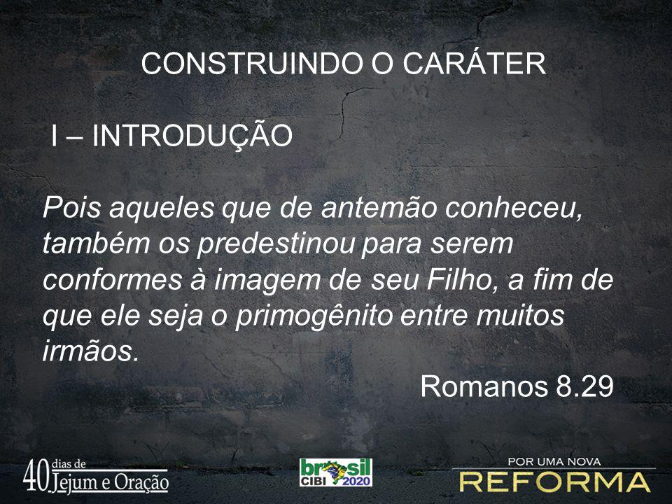 CONSTRUINDO O CARÁTER I – INTRODUÇÃO.