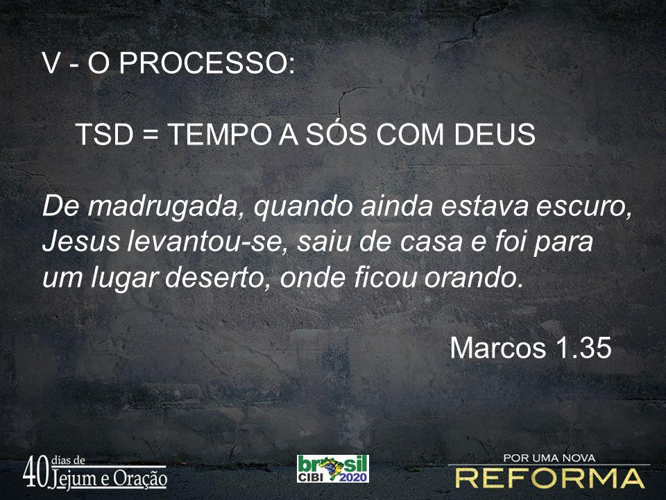V - O PROCESSO: TSD = TEMPO A SÓS COM DEUS.