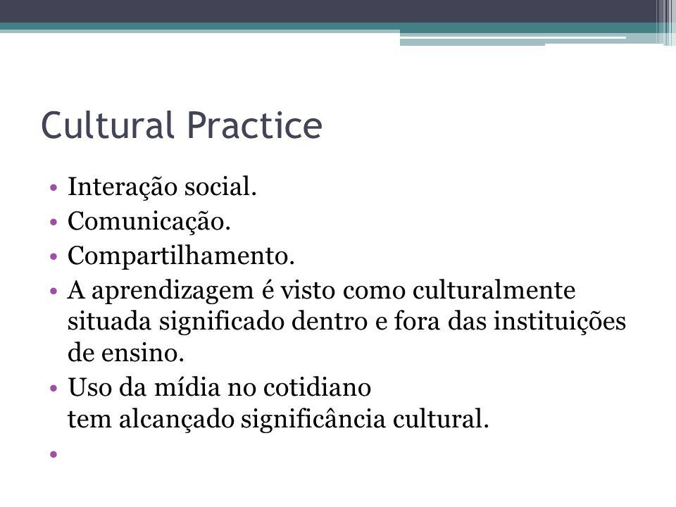 Cultural Practice Interação social. Comunicação. Compartilhamento.