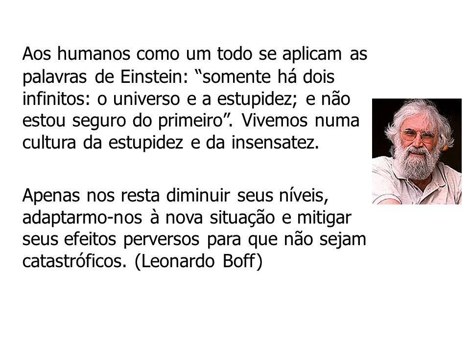 Aos humanos como um todo se aplicam as palavras de Einstein: somente há dois infinitos: o universo e a estupidez; e não estou seguro do primeiro . Vivemos numa cultura da estupidez e da insensatez.