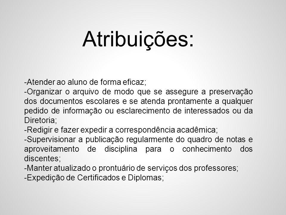 Atribuições: -Atender ao aluno de forma eficaz;
