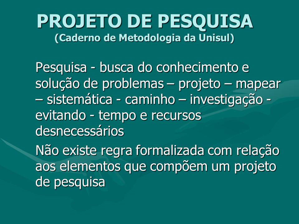 PROJETO DE PESQUISA (Caderno de Metodologia da Unisul)