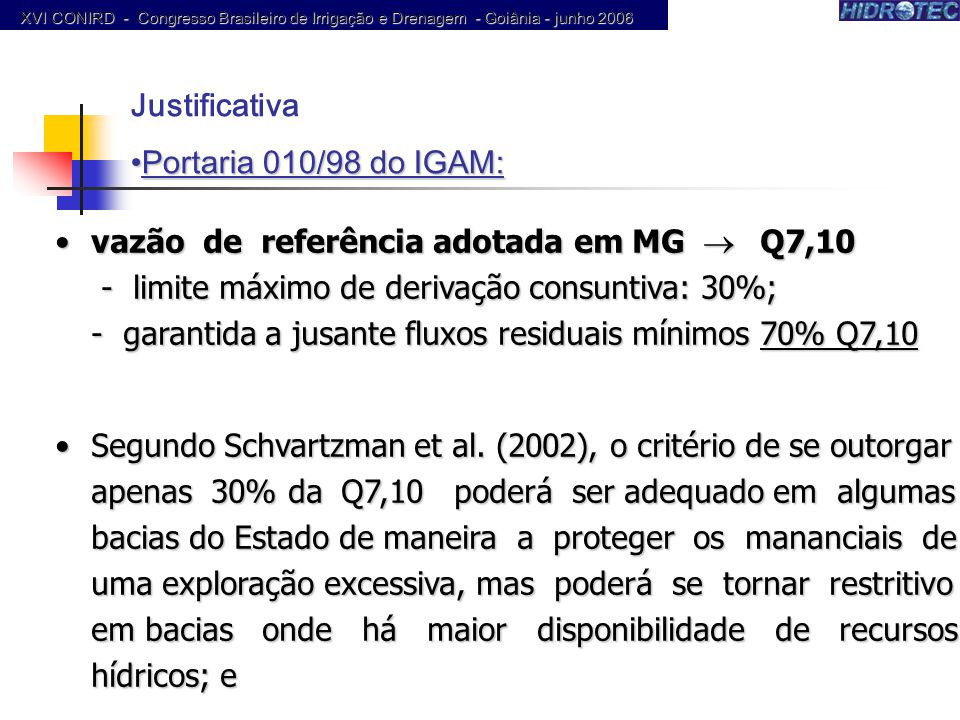 Justificativa Portaria 010/98 do IGAM:
