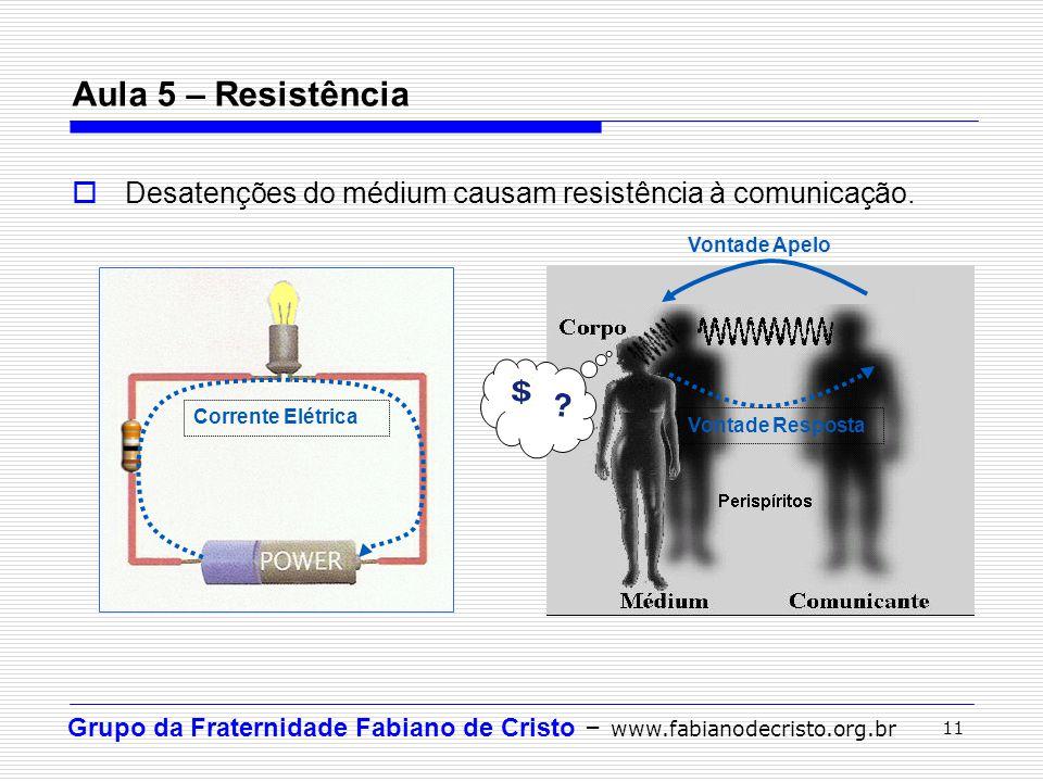 Aula 5 – Resistência Desatenções do médium causam resistência à comunicação. Vontade Apelo. Vontade Resposta.