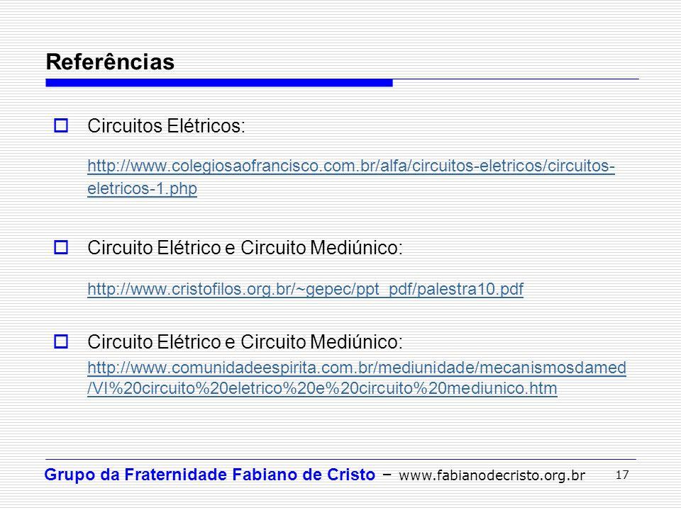 Referências Circuitos Elétricos: http://www.colegiosaofrancisco.com.br/alfa/circuitos-eletricos/circuitos-eletricos-1.php.
