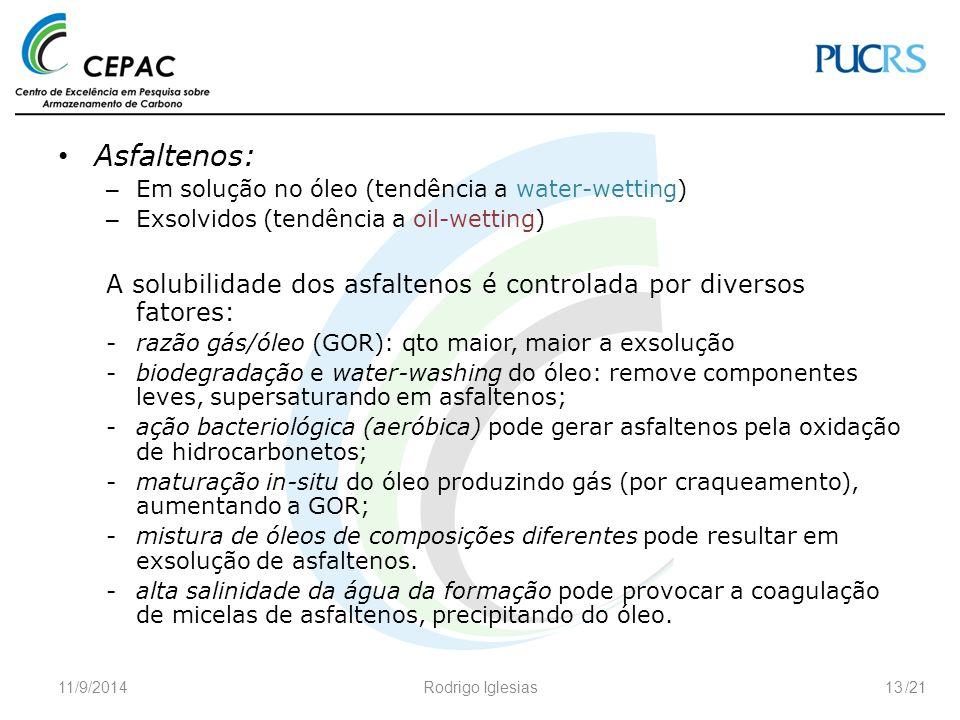 Asfaltenos: Em solução no óleo (tendência a water-wetting) Exsolvidos (tendência a oil-wetting)