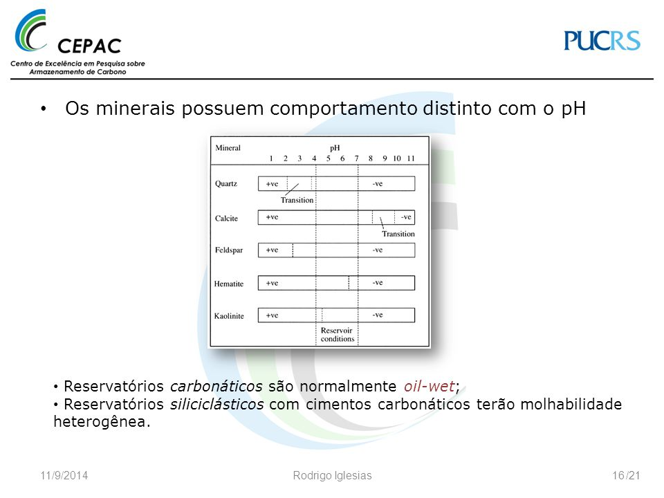 Os minerais possuem comportamento distinto com o pH