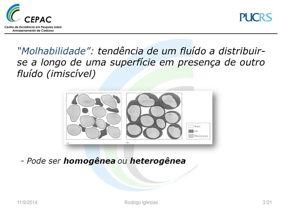 Molhabilidade : tendência de um fluído a distribuir-se a longo de uma superfície em presença de outro fluído (imiscível)