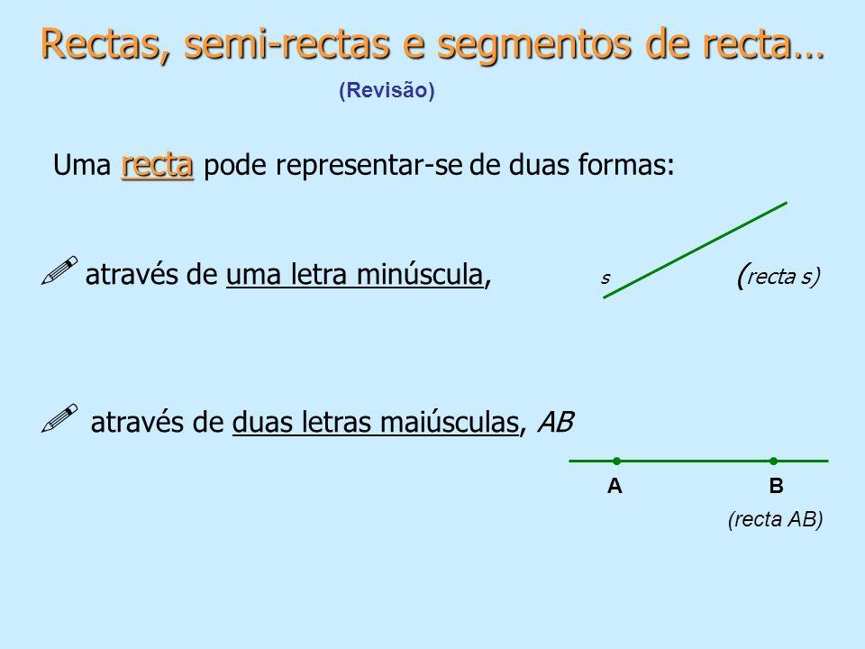 Rectas, semi-rectas e segmentos de recta…
