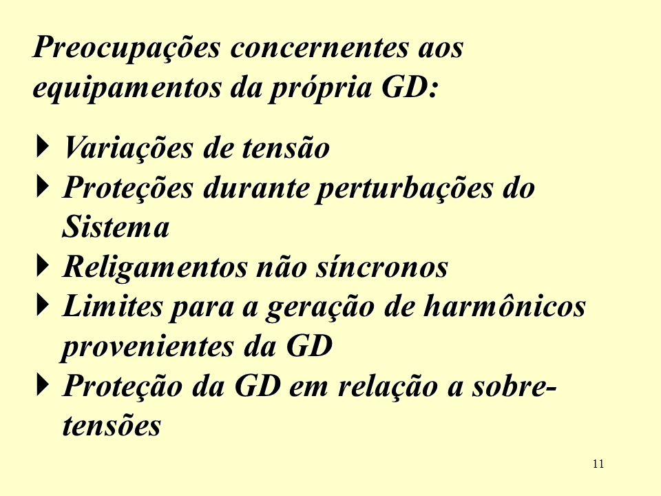 Preocupações concernentes aos equipamentos da própria GD: