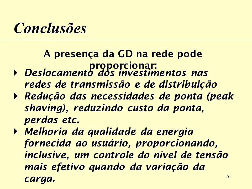 A presença da GD na rede pode proporcionar: