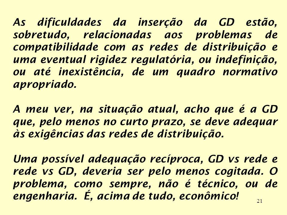 As dificuldades da inserção da GD estão, sobretudo, relacionadas aos problemas de compatibilidade com as redes de distribuição e uma eventual rigidez regulatória, ou indefinição, ou até inexistência, de um quadro normativo apropriado.