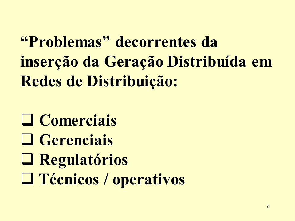 Problemas decorrentes da inserção da Geração Distribuída em Redes de Distribuição:
