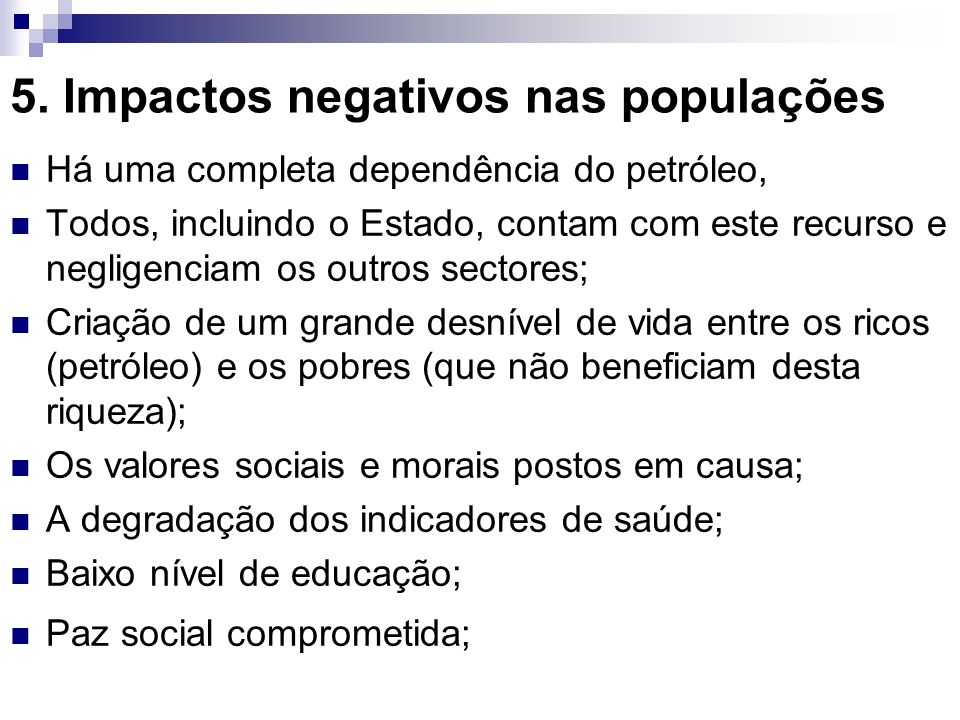 5. Impactos negativos nas populações