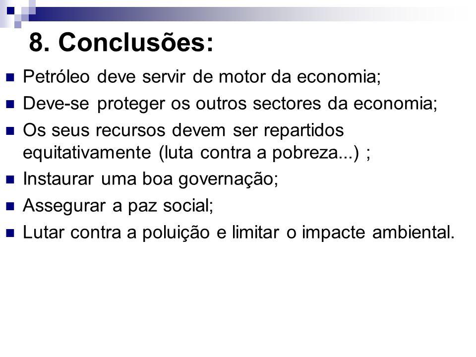 8. Conclusões: Petróleo deve servir de motor da economia;