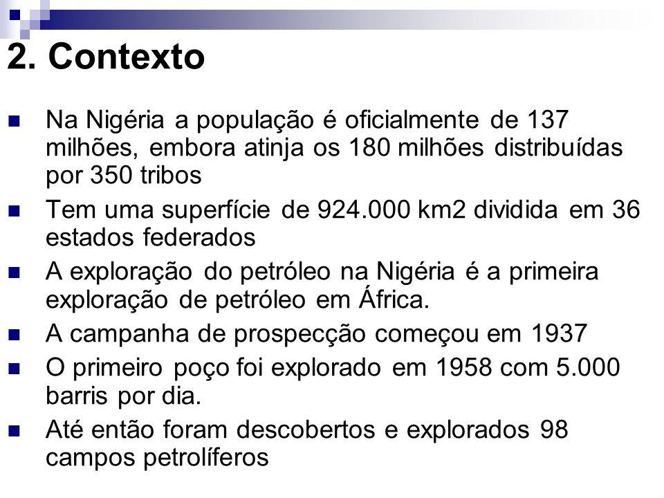2. Contexto Na Nigéria a população é oficialmente de 137 milhões, embora atinja os 180 milhões distribuídas por 350 tribos.