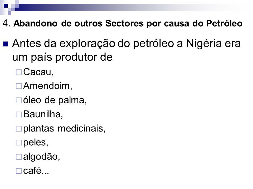 4. Abandono de outros Sectores por causa do Petróleo