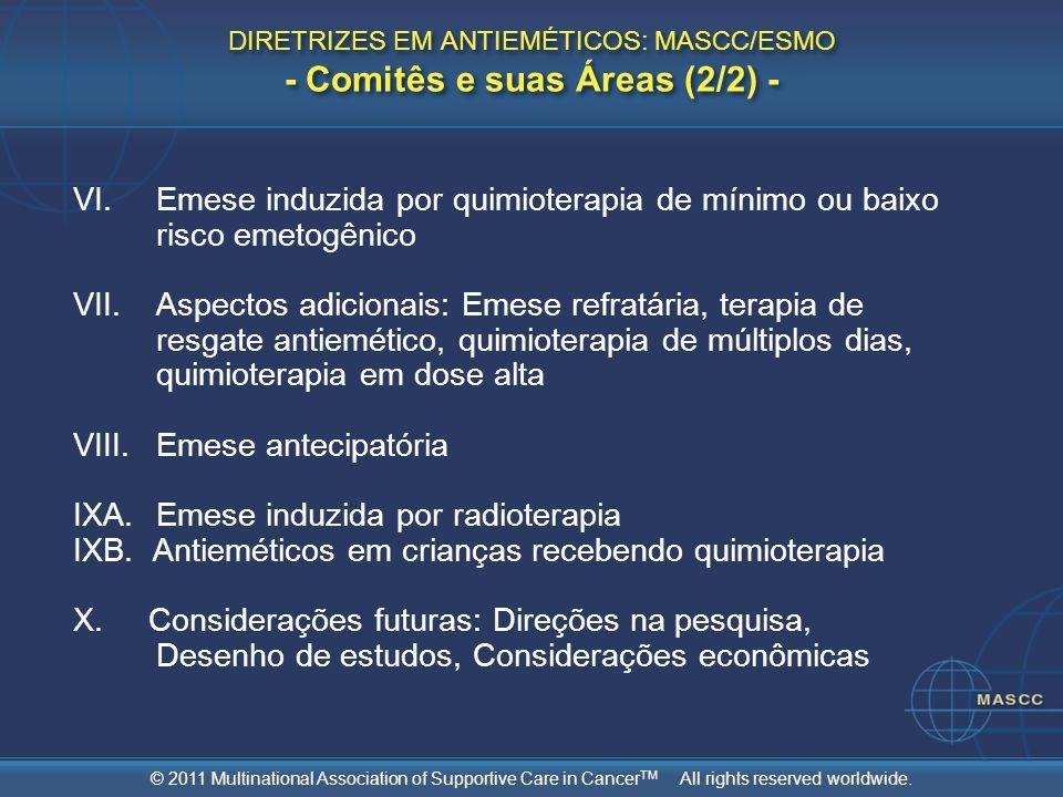 DIRETRIZES EM ANTIEMÉTICOS: MASCC/ESMO - Comitês e suas Áreas (2/2) -