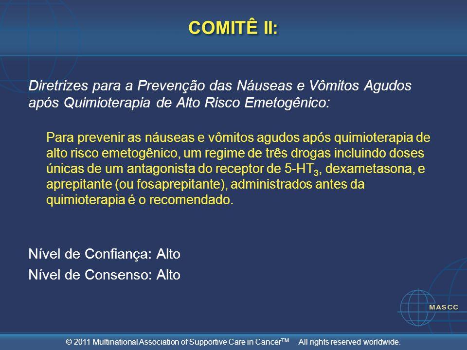 COMITÊ II: Diretrizes para a Prevenção das Náuseas e Vômitos Agudos após Quimioterapia de Alto Risco Emetogênico: