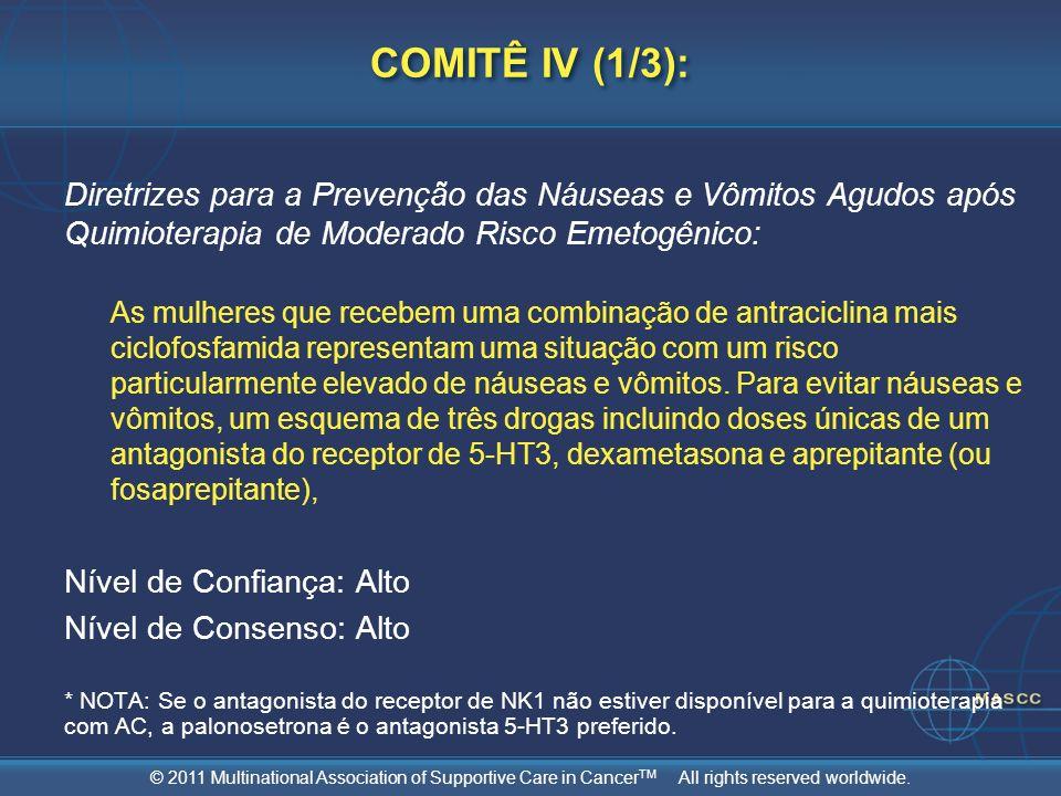 COMITÊ IV (1/3): Diretrizes para a Prevenção das Náuseas e Vômitos Agudos após Quimioterapia de Moderado Risco Emetogênico: