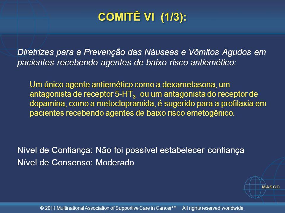 COMITÊ VI (1/3): Diretrizes para a Prevenção das Náuseas e Vômitos Agudos em pacientes recebendo agentes de baixo risco antiemético: