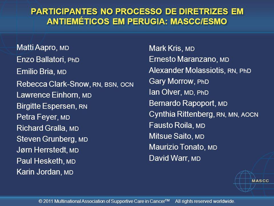 PARTICIPANTES NO PROCESSO DE DIRETRIZES EM ANTIEMÉTICOS EM PERUGIA: MASCC/ESMO