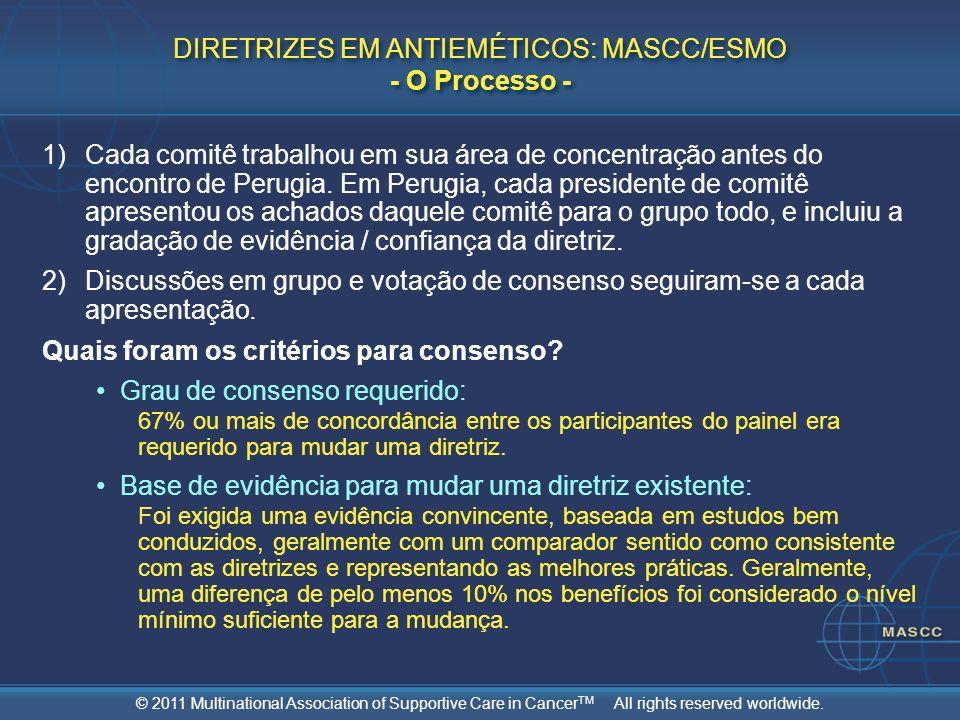 DIRETRIZES EM ANTIEMÉTICOS: MASCC/ESMO - O Processo -