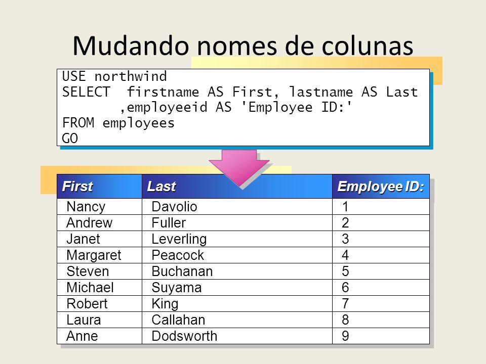 Mudando nomes de colunas