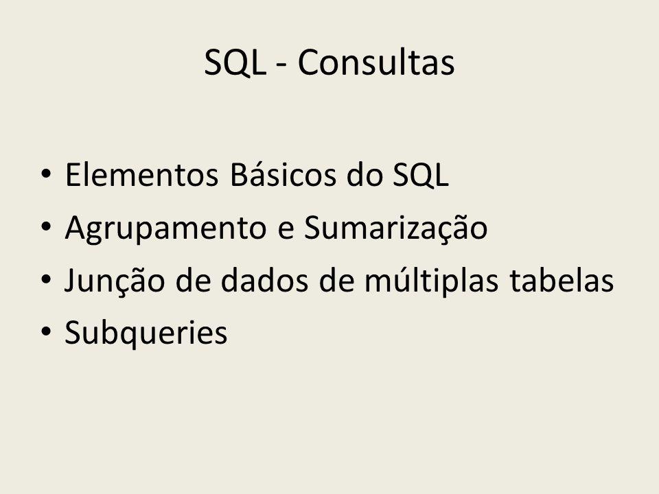 SQL - Consultas Elementos Básicos do SQL Agrupamento e Sumarização