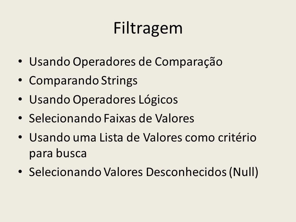 Filtragem Usando Operadores de Comparação Comparando Strings