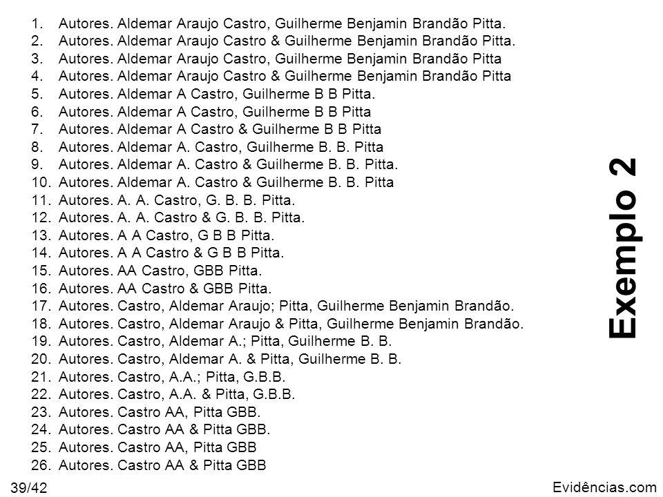 Autores. Aldemar Araujo Castro, Guilherme Benjamin Brandão Pitta.