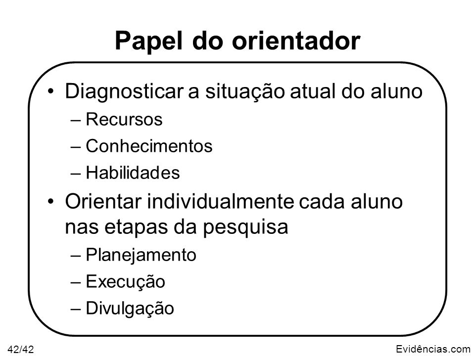 Papel do orientador Diagnosticar a situação atual do aluno